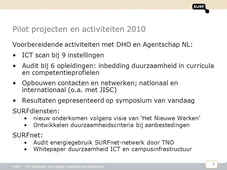 8 SURF – ICT innovatie voor hoger onderwijs en onderzoek Plannen voor 2011 en verder •Doelstellingen: −stimuleren en bevorderen van duurzaamheid van en door ICT −Verminderen van ICT-gerelateerd energieverbruik (kostenreductie) 1.Vergroening van ICT 2.Vergroening door ICT in onderwijs, onderzoek en bedrijfsvoering 3.Duurzaamheid bevorderen in ICT-gerelateerde curricula 4.Verzamelen en delen van informatie en kennis 5.Ontwikkelen van een meerjarenprogramma