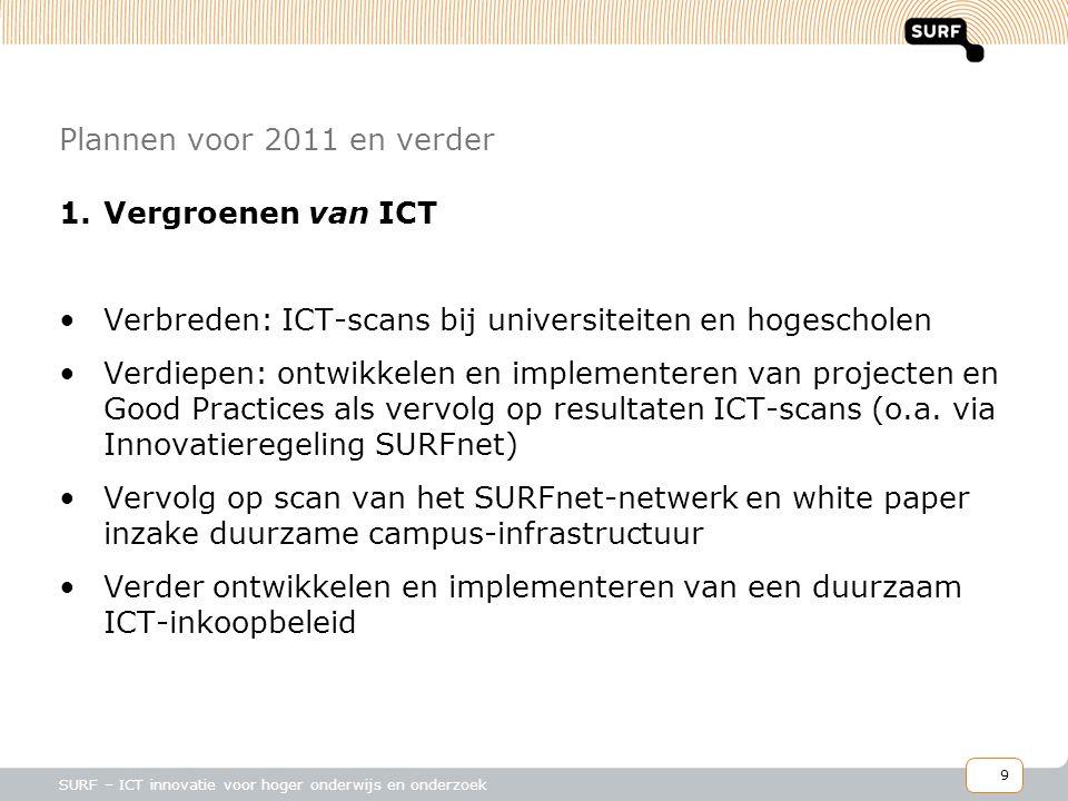 9 SURF – ICT innovatie voor hoger onderwijs en onderzoek Plannen voor 2011 en verder 1.Vergroenen van ICT •Verbreden: ICT-scans bij universiteiten en hogescholen •Verdiepen: ontwikkelen en implementeren van projecten en Good Practices als vervolg op resultaten ICT-scans (o.a.