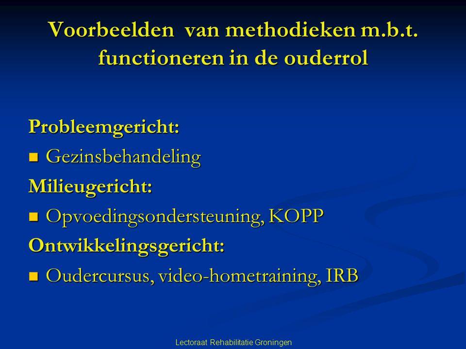 Lectoraat Rehabilitatie Groningen Voorbeelden van methodieken m.b.t. functioneren in de ouderrol Probleemgericht:  Gezinsbehandeling Milieugericht: 