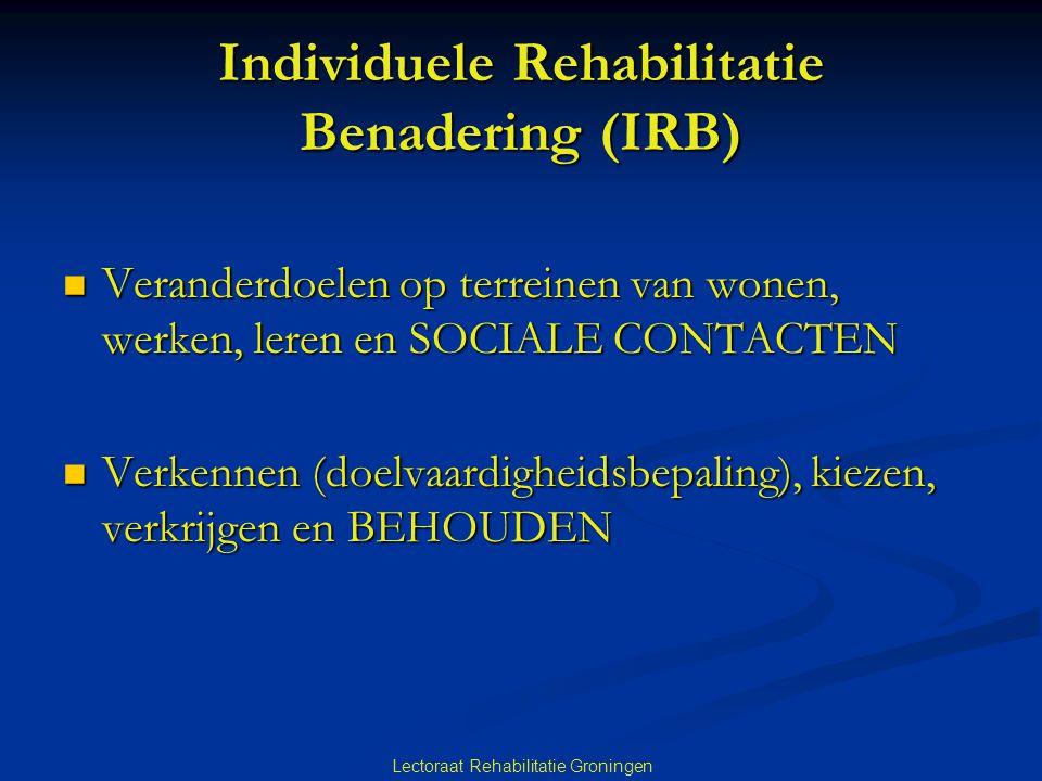 Lectoraat Rehabilitatie Groningen Individuele Rehabilitatie Benadering (IRB)  Veranderdoelen op terreinen van wonen, werken, leren en SOCIALE CONTACT