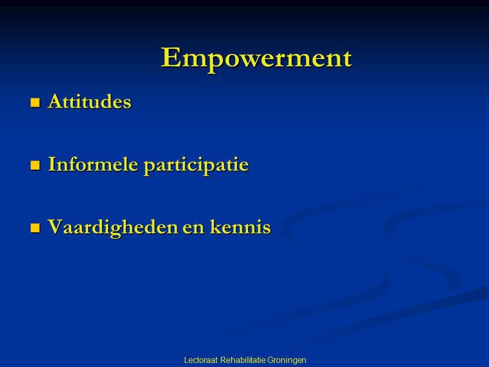  Attitudes  Informele participatie  Vaardigheden en kennis Lectoraat Rehabilitatie Groningen Empowerment