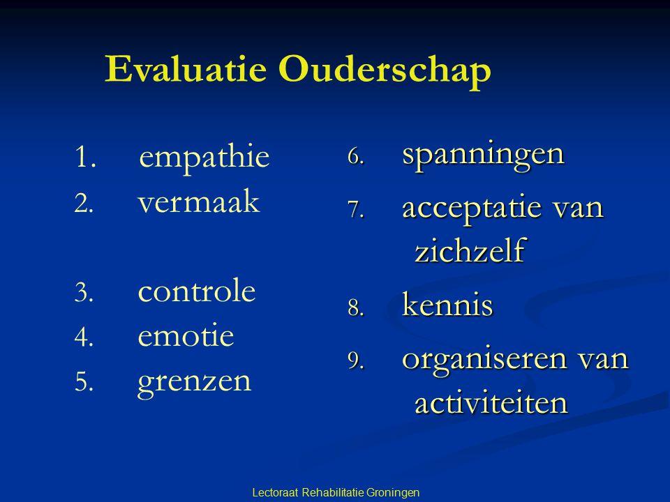 6. spanningen 7. acceptatie van zichzelf 8. kennis 9. organiseren van activiteiten Lectoraat Rehabilitatie Groningen Evaluatie Ouderschap 1. empathie