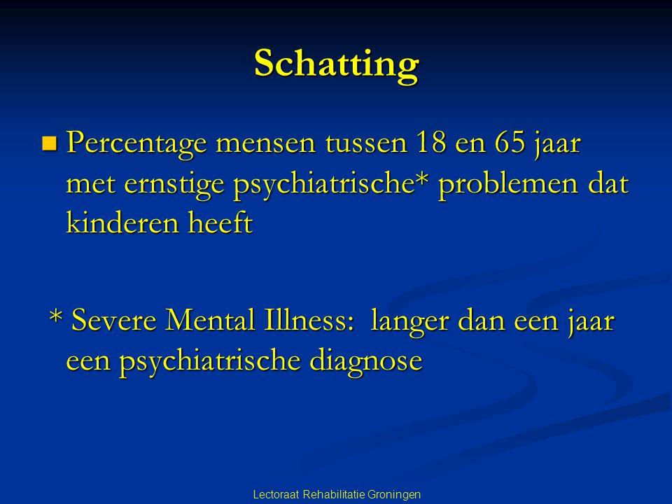 Schatting  Percentage mensen tussen 18 en 65 jaar met ernstige psychiatrische* problemen dat kinderen heeft * Severe Mental Illness: langer dan een j