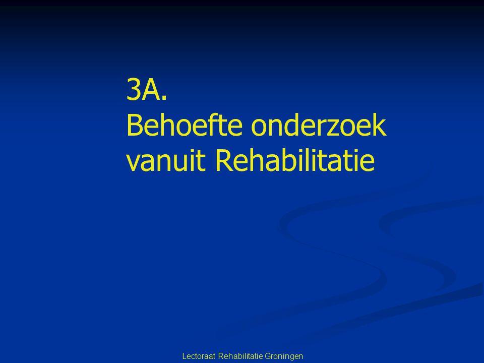 Lectoraat Rehabilitatie Groningen 3A. Behoefte onderzoek vanuit Rehabilitatie
