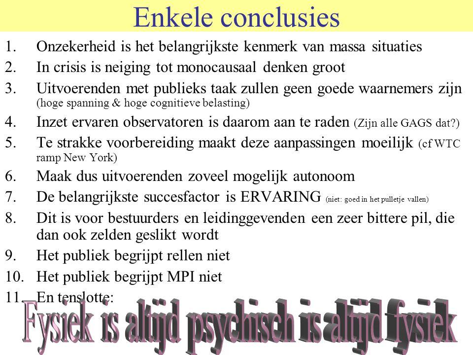Enkele conclusies 1.Onzekerheid is het belangrijkste kenmerk van massa situaties 2.In crisis is neiging tot monocausaal denken groot 3.Uitvoerenden me