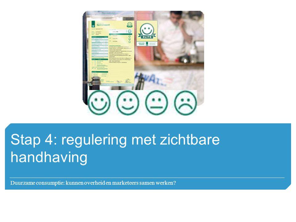 Stap 4: regulering met zichtbare handhaving Duurzame consumptie: kunnen overheid en marketeers samen werken?