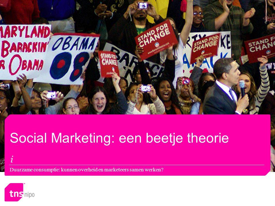 Social Marketing: een beetje theorie Duurzame consumptie: kunnen overheid en marketeers samen werken?