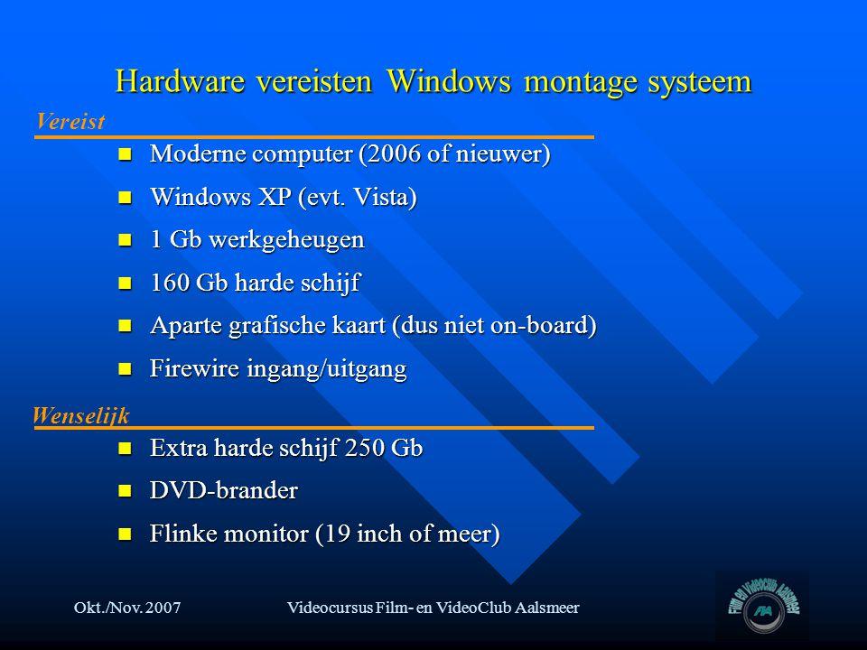 Okt./Nov. 2007Videocursus Film- en VideoClub Aalsmeer Hardware vereisten Windows montage systeem  Moderne computer (2006 of nieuwer)  Windows XP (ev