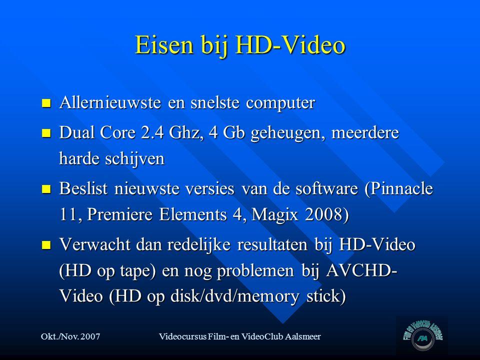 Okt./Nov. 2007Videocursus Film- en VideoClub Aalsmeer Eisen bij HD-Video  Allernieuwste en snelste computer  Dual Core 2.4 Ghz, 4 Gb geheugen, meerd