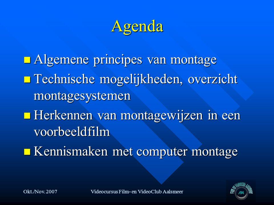 Okt./Nov. 2007Videocursus Film- en VideoClub Aalsmeer Agenda  Algemene principes van montage  Technische mogelijkheden, overzicht montagesystemen 