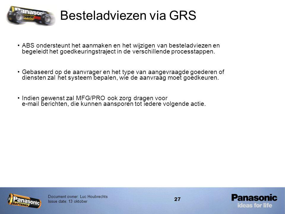 Document owner: Luc Houbrechts Issue date: 13 oktober 27 Besteladviezen via GRS • ABS ondersteunt het aanmaken en het wijzigen van besteladviezen en b