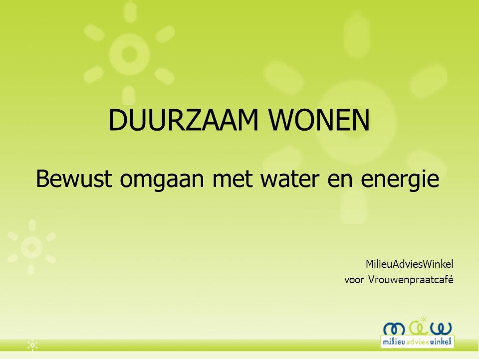 DUURZAAM WONEN Bewust omgaan met water en energie MilieuAdviesWinkel voor Vrouwenpraatcafé