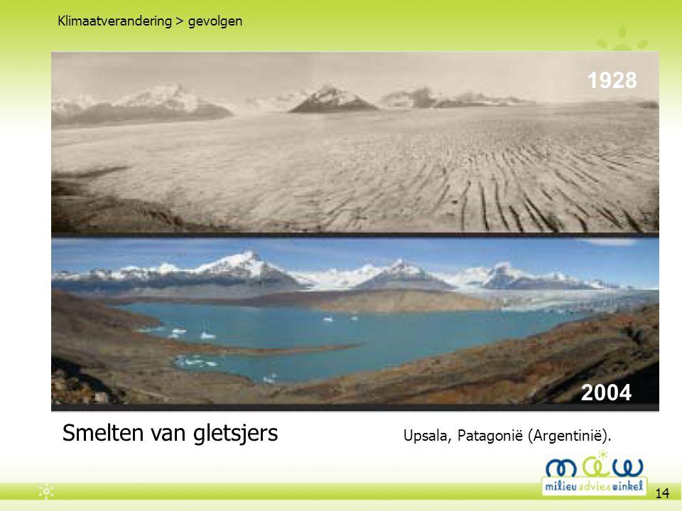 14 Veranderend weer patroon Klimaatverandering > gevolgen 1928 2004 Smelten van gletsjers Upsala, Patagonië (Argentinië).