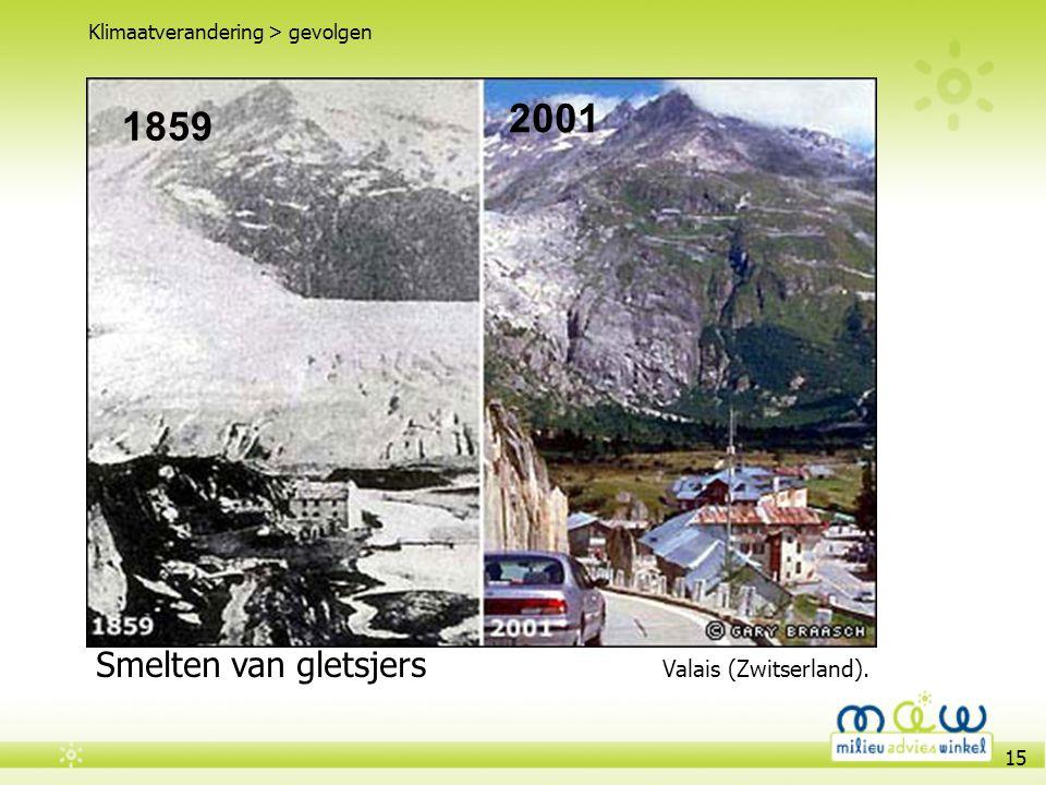 15 Veranderend weer patroon Klimaatverandering > gevolgen Smelten van gletsjers Valais (Zwitserland). 1859 2001