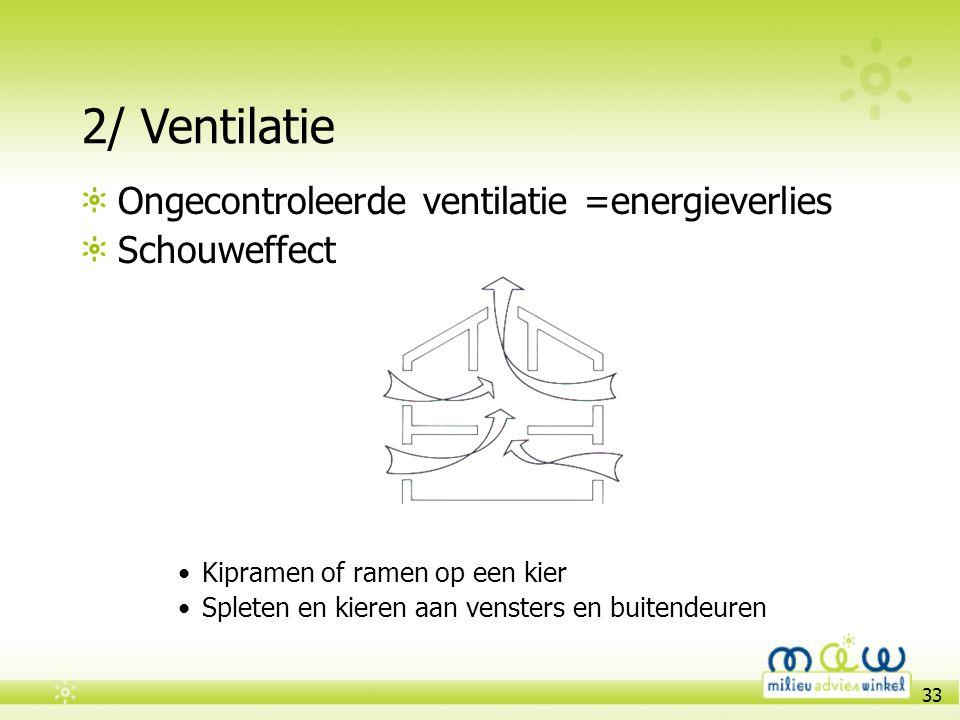 33 2/ Ventilatie Ongecontroleerde ventilatie =energieverlies Schouweffect •Kipramen of ramen op een kier •Spleten en kieren aan vensters en buitendeur
