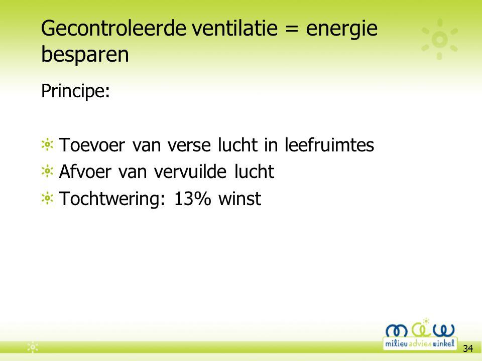 34 Gecontroleerde ventilatie = energie besparen Principe: Toevoer van verse lucht in leefruimtes Afvoer van vervuilde lucht Tochtwering: 13% winst