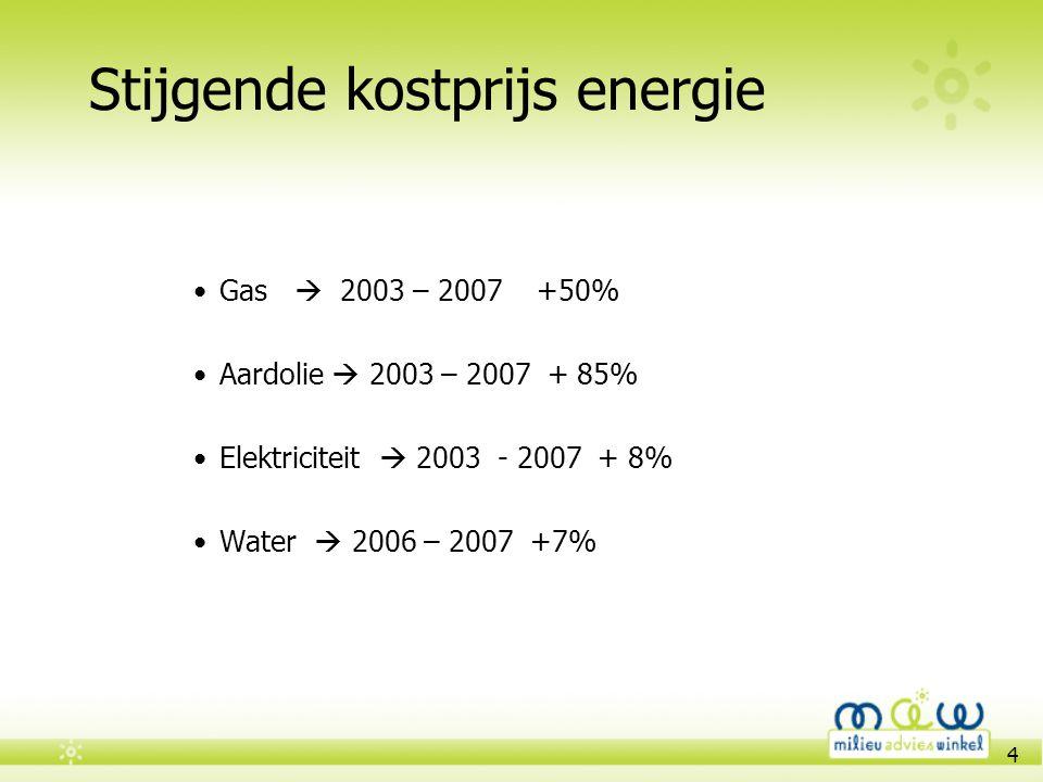 4 Stijgende kostprijs energie •Gas  2003 – 2007 +50% •Aardolie  2003 – 2007 + 85% •Elektriciteit  2003 - 2007 + 8% •Water  2006 – 2007 +7%