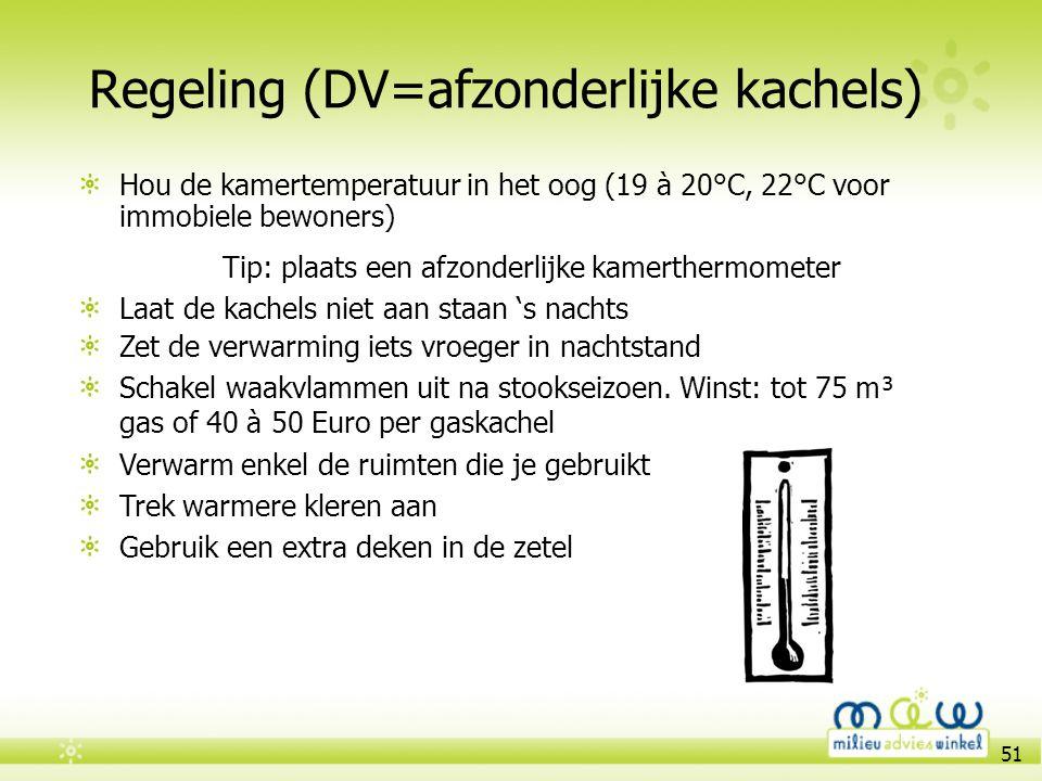 51 Regeling (DV=afzonderlijke kachels) Hou de kamertemperatuur in het oog (19 à 20°C, 22°C voor immobiele bewoners) Tip: plaats een afzonderlijke kame