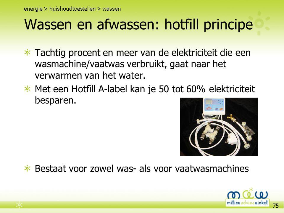 75 Wassen en afwassen: hotfill principe Tachtig procent en meer van de elektriciteit die een wasmachine/vaatwas verbruikt, gaat naar het verwarmen van