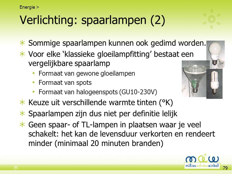 79 Verlichting: spaarlampen (2) Sommige spaarlampen kunnen ook gedimd worden. Voor elke 'klassieke gloeilampfitting' bestaat een vergelijkbare spaarla