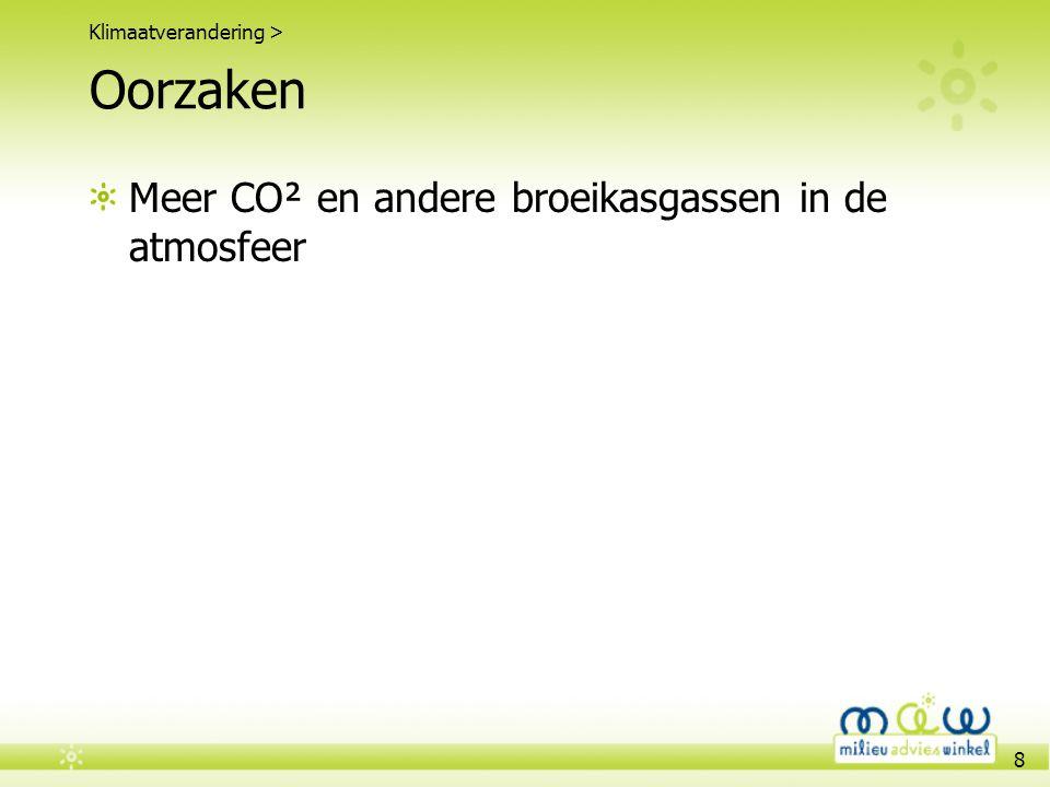 8 Oorzaken Meer CO² en andere broeikasgassen in de atmosfeer Klimaatverandering >