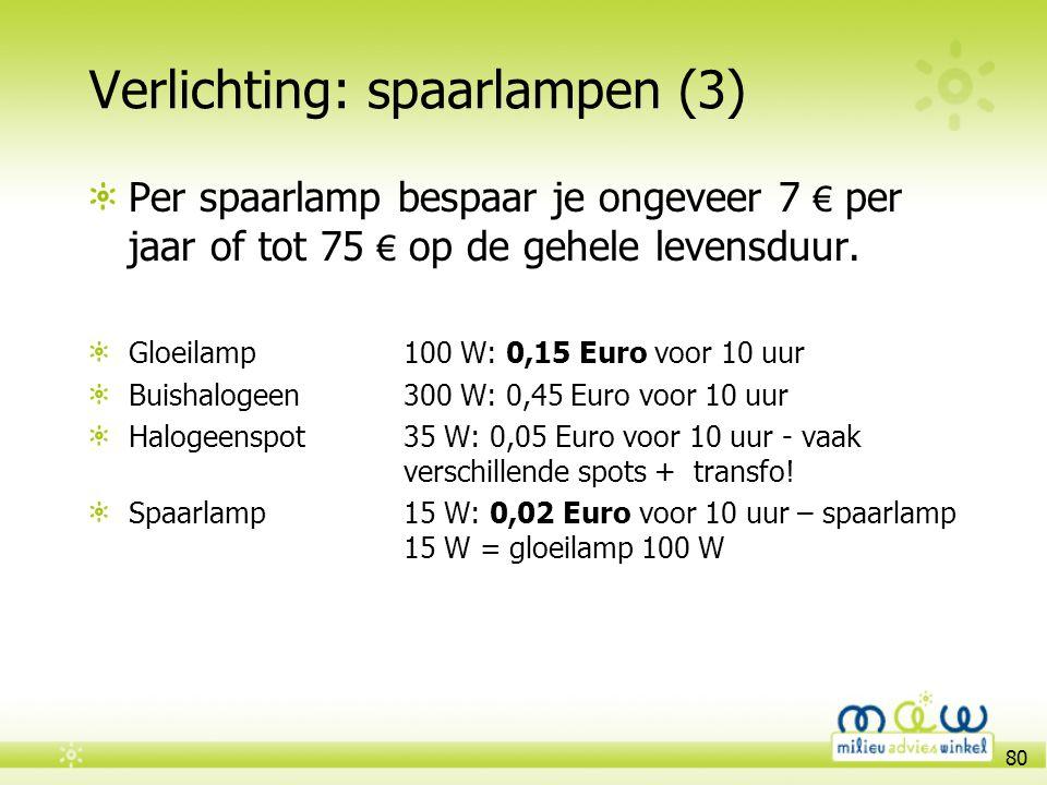 80 Verlichting: spaarlampen (3) Per spaarlamp bespaar je ongeveer 7 € per jaar of tot 75 € op de gehele levensduur. Gloeilamp100 W: 0,15 Euro voor 10