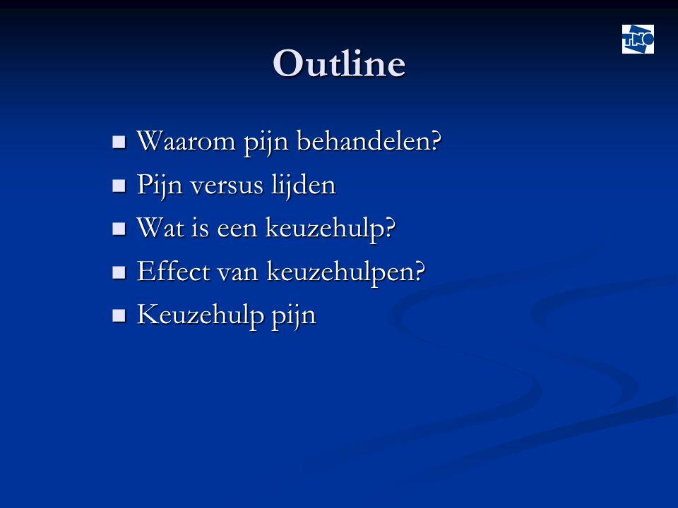 Outline  Waarom pijn behandelen?  Pijn versus lijden  Wat is een keuzehulp?  Effect van keuzehulpen?  Keuzehulp pijn