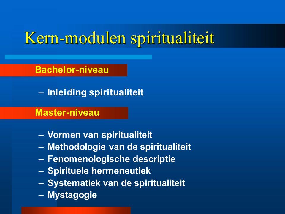 Kern-modulen spiritualiteit Bachelor-niveau –Inleiding spiritualiteit Master-niveau –Vormen van spiritualiteit –Methodologie van de spiritualiteit –Fenomenologische descriptie –Spirituele hermeneutiek –Systematiek van de spiritualiteit –Mystagogie