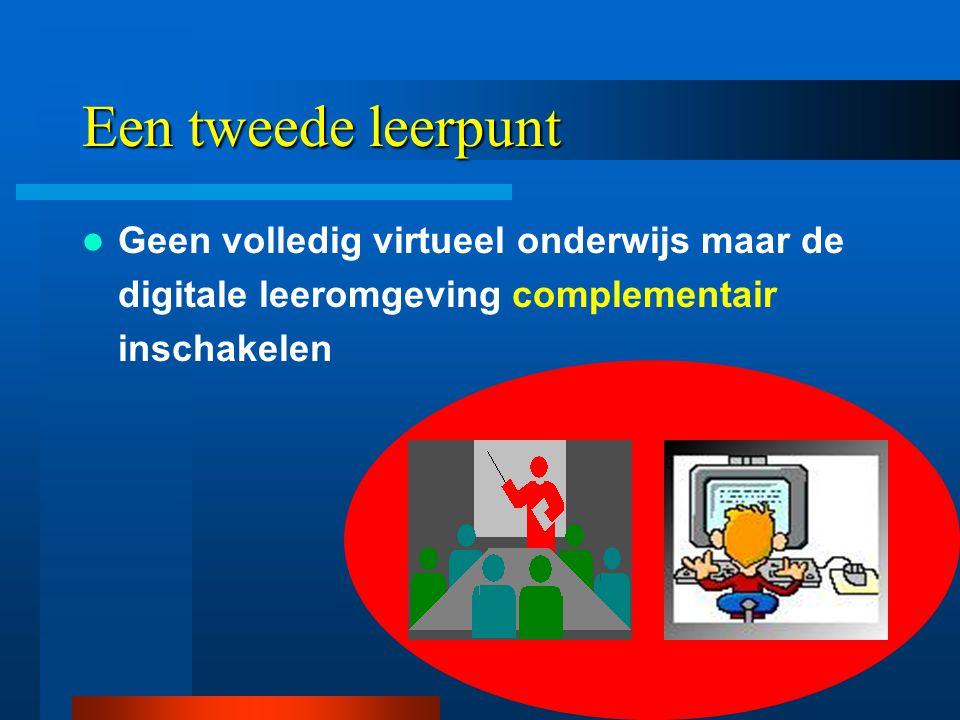 Een tweede leerpunt  Geen volledig virtueel onderwijs maar de digitale leeromgeving complementair inschakelen