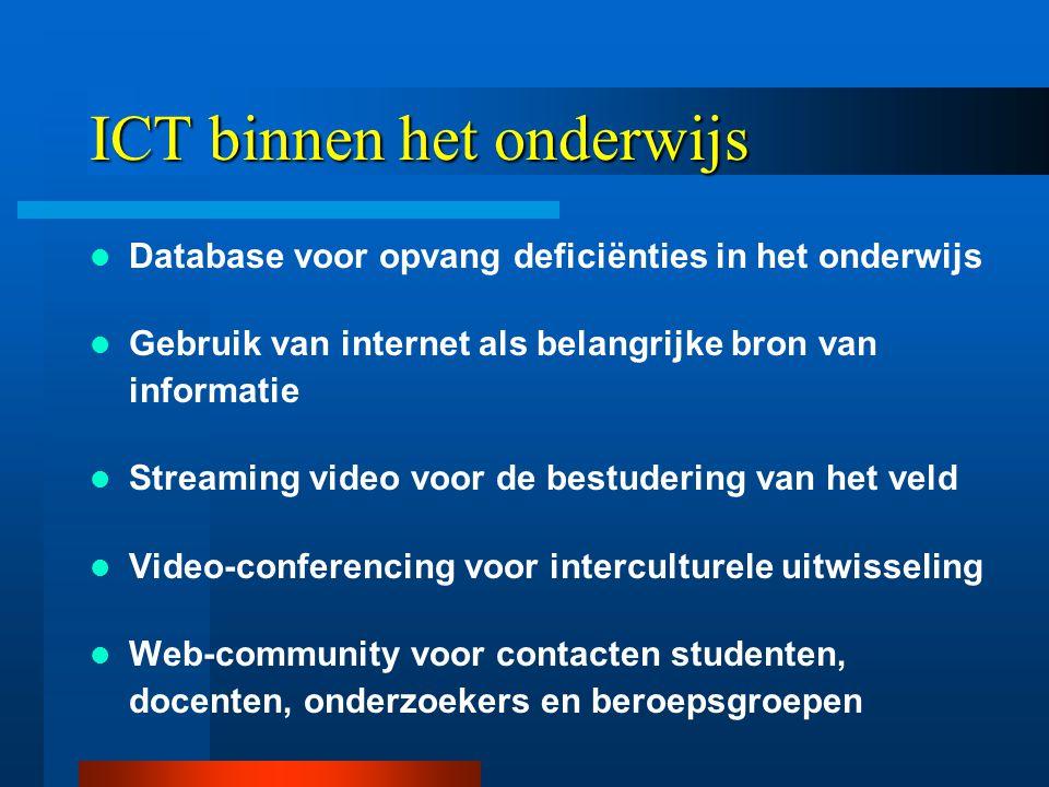 ICT binnen het onderwijs  Database voor opvang deficiënties in het onderwijs  Gebruik van internet als belangrijke bron van informatie  Streaming video voor de bestudering van het veld  Video-conferencing voor interculturele uitwisseling  Web-community voor contacten studenten, docenten, onderzoekers en beroepsgroepen