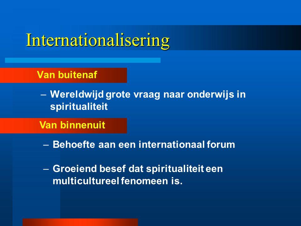 Internationalisering Van buitenaf –Wereldwijd grote vraag naar onderwijs in spiritualiteit Van binnenuit –Behoefte aan een internationaal forum –Groeiend besef dat spiritualiteit een multicultureel fenomeen is.