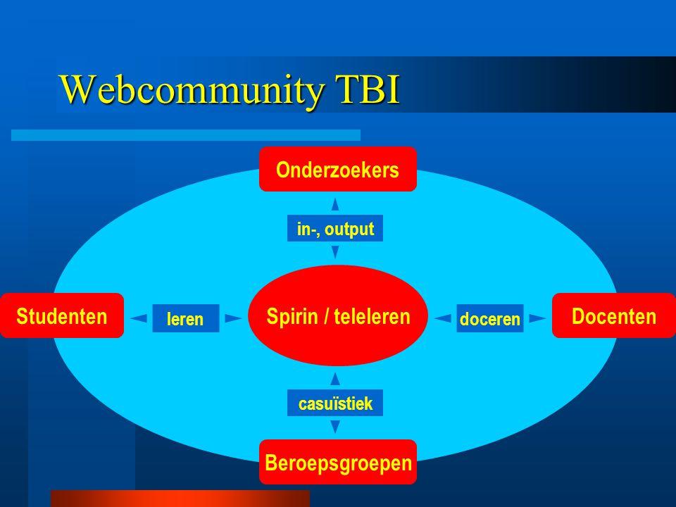 Webcommunity TBI Spirin / teleleren Onderzoekers Beroepsgroepen StudentenDocenten casuïstiek leren in-, output doceren
