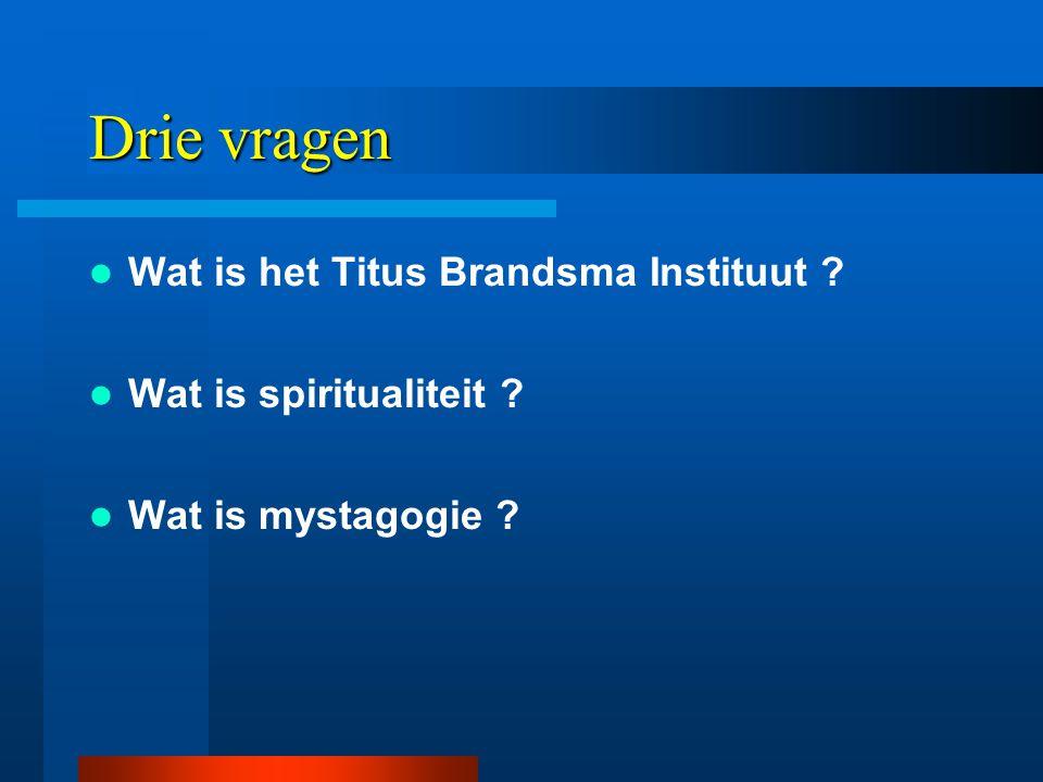 Drie vragen  Wat is het Titus Brandsma Instituut  Wat is spiritualiteit  Wat is mystagogie