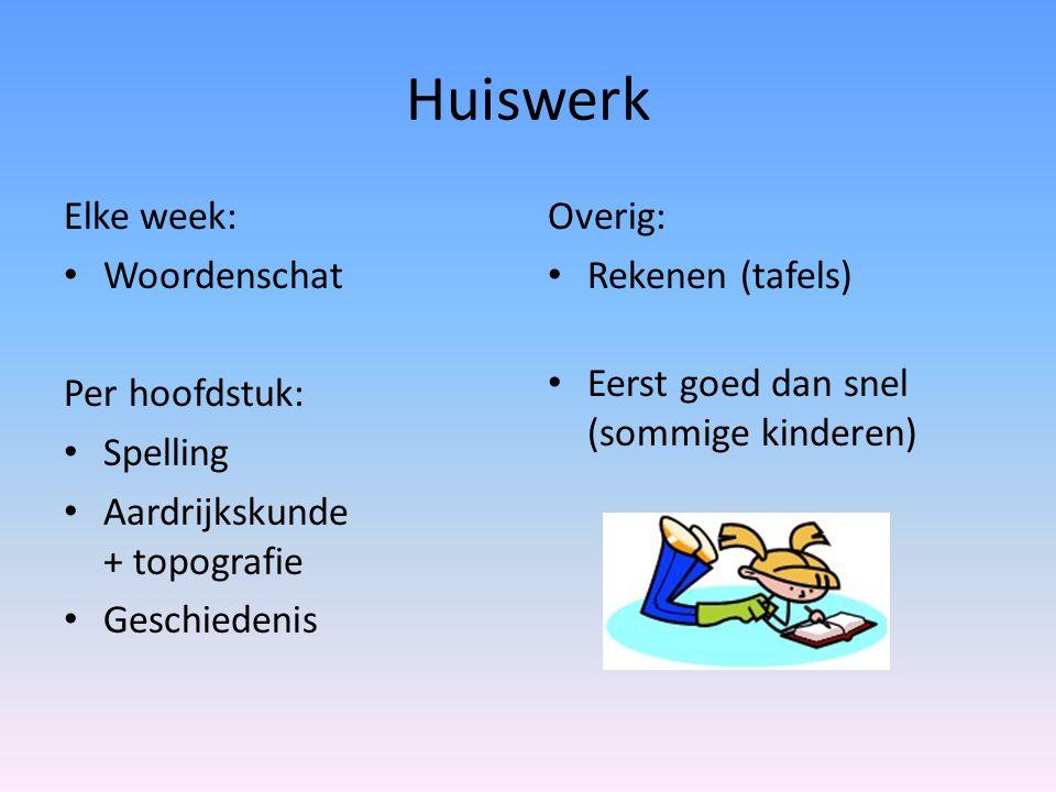 Huiswerk Elke week: • Woordenschat Per hoofdstuk: • Spelling • Aardrijkskunde + topografie • Geschiedenis Overig: • Rekenen (tafels) • Eerst goed dan