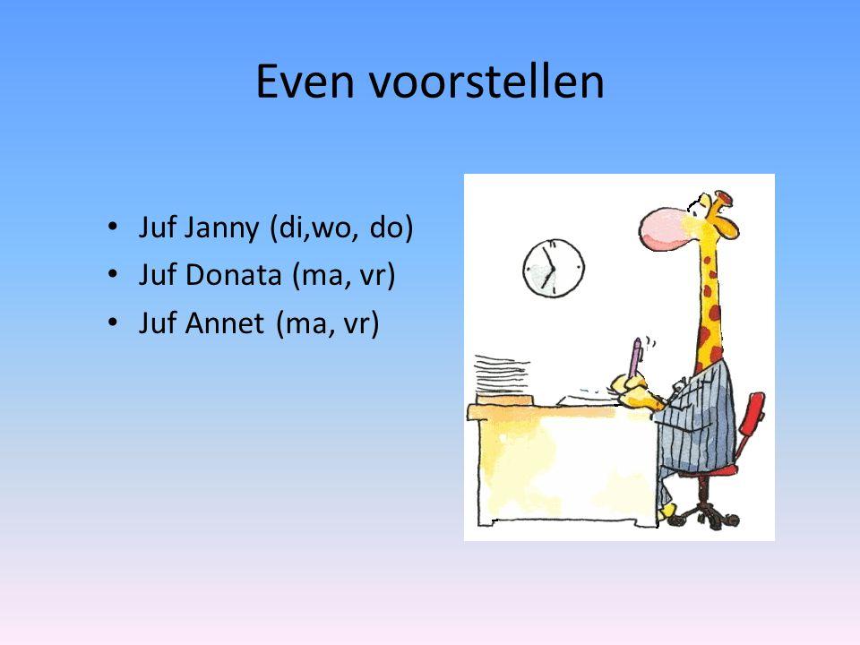 Even voorstellen • Juf Janny (di,wo, do) • Juf Donata (ma, vr) • Juf Annet (ma, vr)
