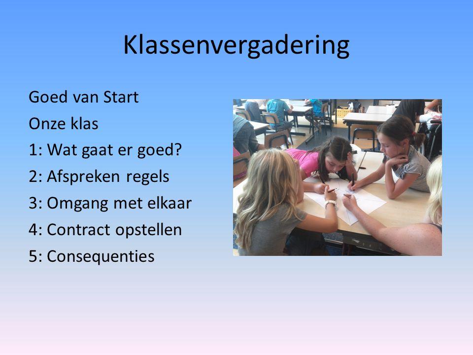 Klassenvergadering Goed van Start Onze klas 1: Wat gaat er goed? 2: Afspreken regels 3: Omgang met elkaar 4: Contract opstellen 5: Consequenties