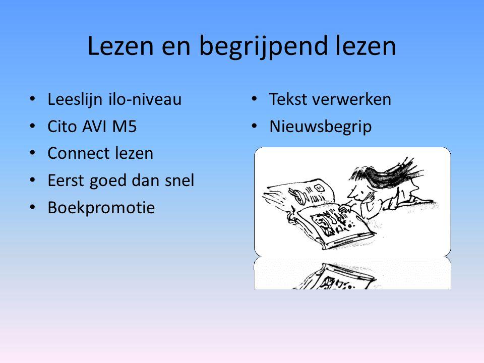 Lezen en begrijpend lezen • Tekst verwerken • Nieuwsbegrip • Leeslijn ilo-niveau • Cito AVI M5 • Connect lezen • Eerst goed dan snel • Boekpromotie