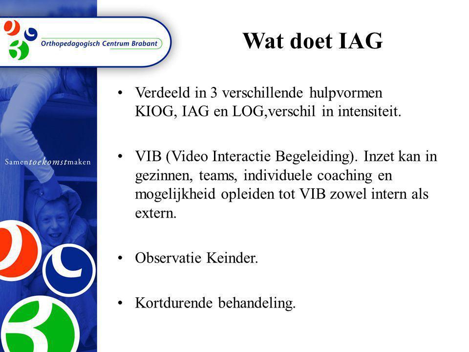 Wat doet IAG •Verdeeld in 3 verschillende hulpvormen KIOG, IAG en LOG,verschil in intensiteit. •VIB (Video Interactie Begeleiding). Inzet kan in gezin