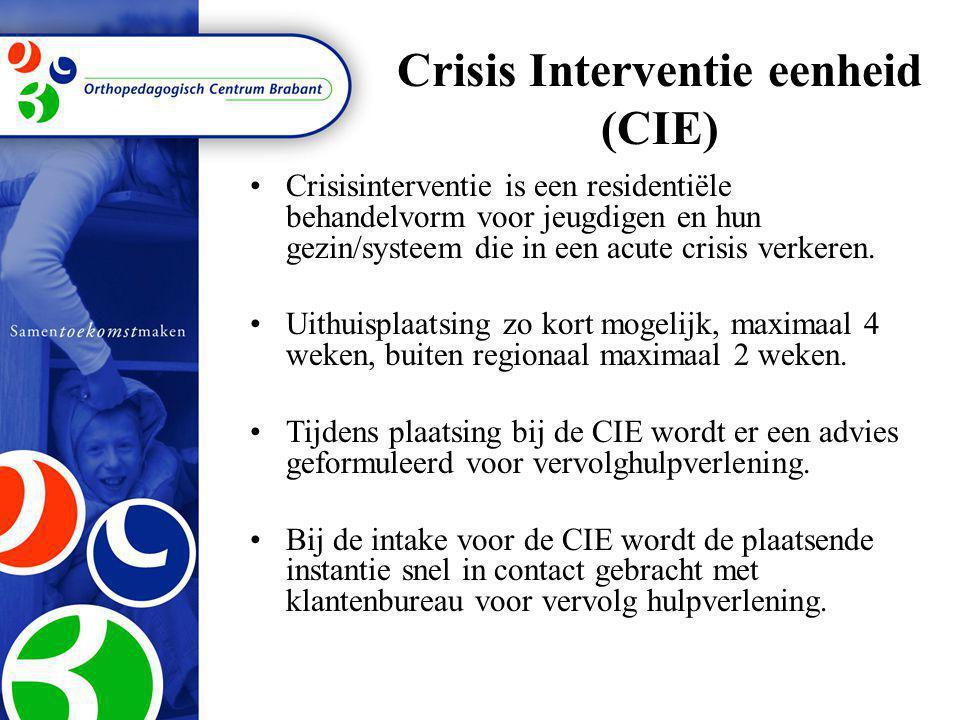 Crisis Interventie eenheid (CIE) •Crisisinterventie is een residentiële behandelvorm voor jeugdigen en hun gezin/systeem die in een acute crisis verke