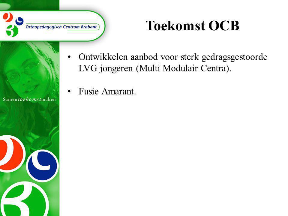 Toekomst OCB •Ontwikkelen aanbod voor sterk gedragsgestoorde LVG jongeren (Multi Modulair Centra). •Fusie Amarant.
