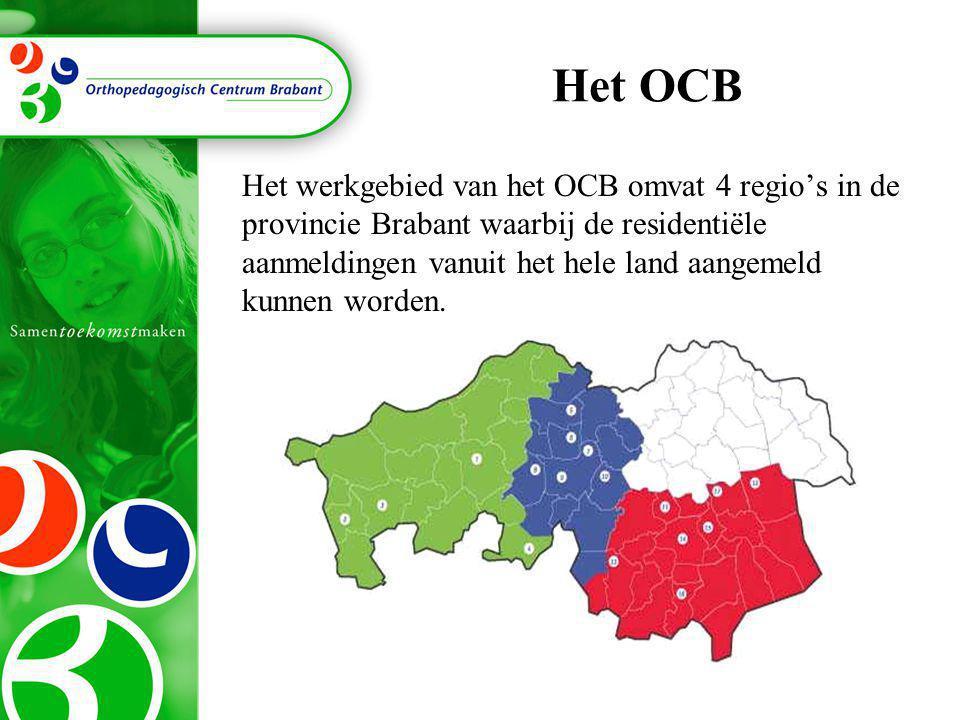 Het OCB Het werkgebied van het OCB omvat 4 regio's in de provincie Brabant waarbij de residentiële aanmeldingen vanuit het hele land aangemeld kunnen