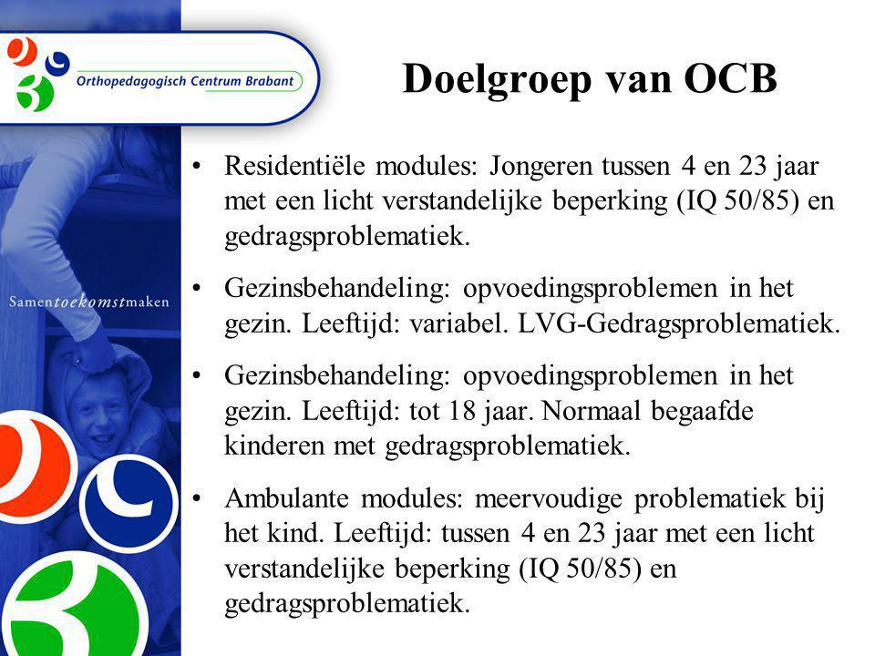 Doelgroep van OCB •R•Residentiële modules: Jongeren tussen 4 en 23 jaar met een licht verstandelijke beperking (IQ 50/85) en gedragsproblematiek. •G•G