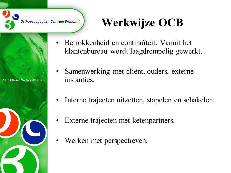Werkwijze OCB •B•Betrokkenheid en continuïteit. Vanuit het klantenbureau wordt laagdrempelig gewerkt. •S•Samenwerking met cliënt, ouders, externe inst