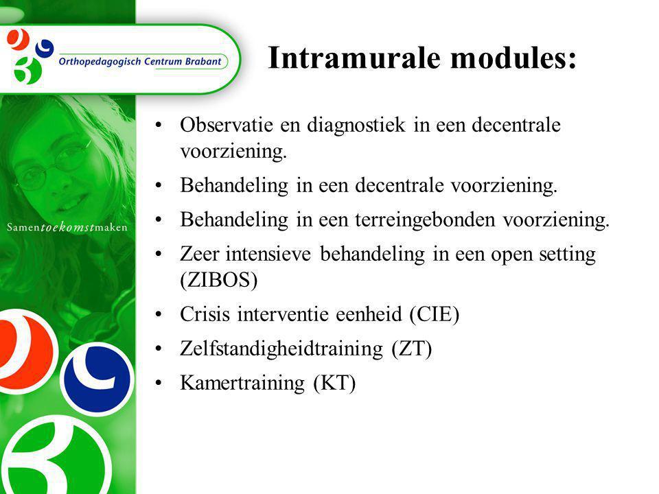 Intramurale modules: •Observatie en diagnostiek in een decentrale voorziening. •Behandeling in een decentrale voorziening. •Behandeling in een terrein