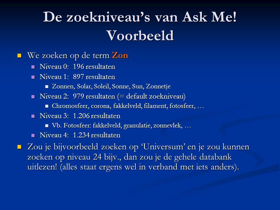 De zoekniveau's van Ask Me! Voorbeeld  We zoeken op de term Zon  Niveau 0: 196 resultaten  Niveau 1: 897 resultaten  Zonnen, Solar, Soleil, Sonne,