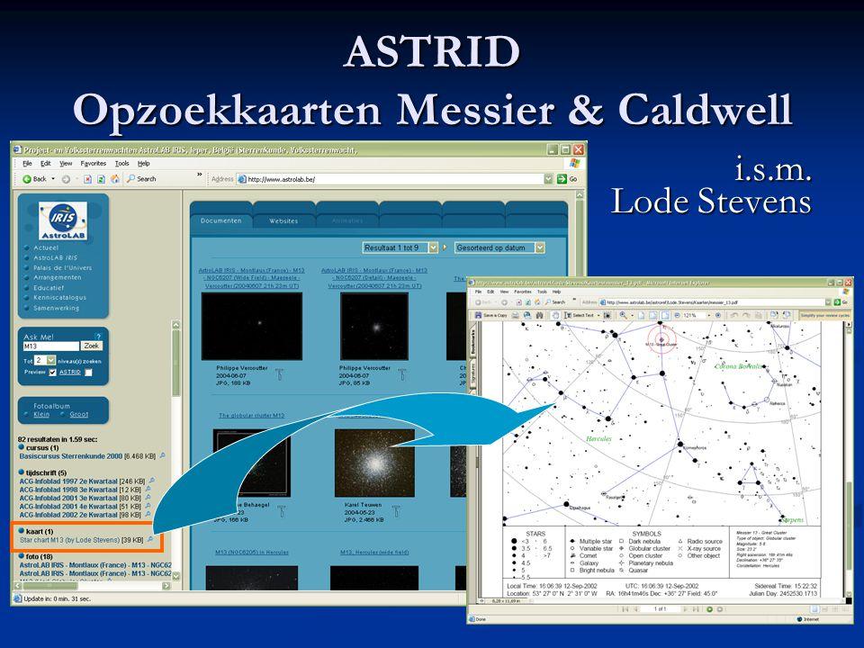 ASTRID Opzoekkaarten Messier & Caldwell i.s.m. Lode Stevens
