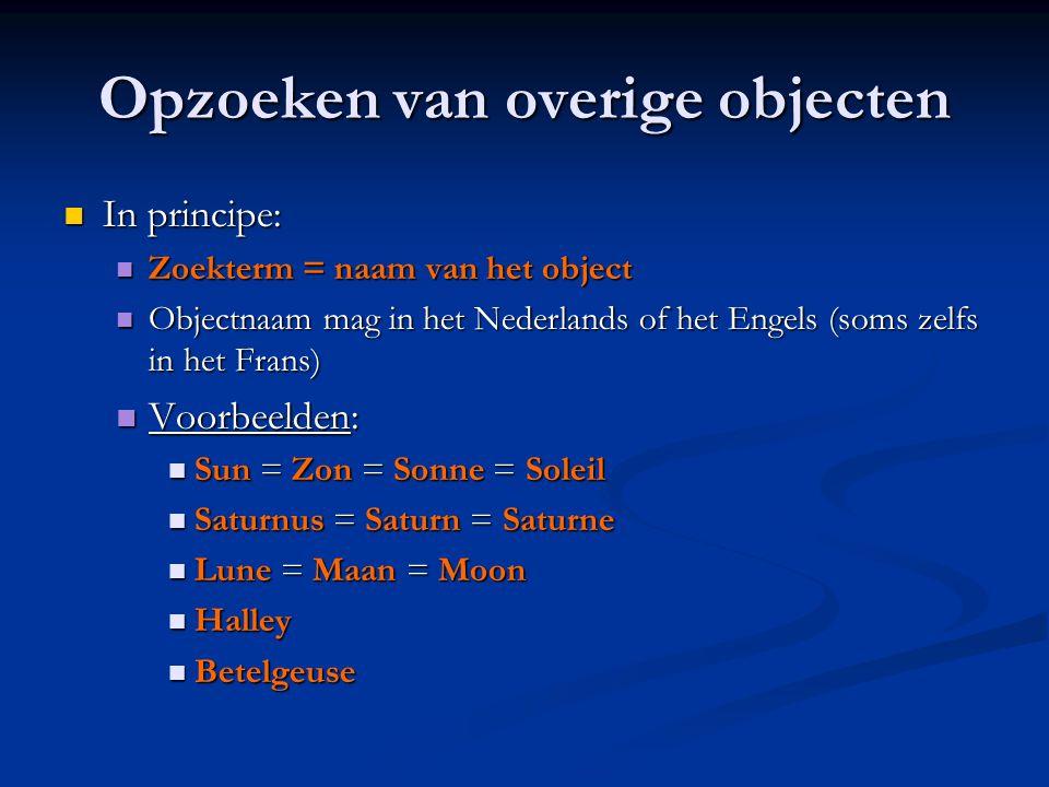 Opzoeken van overige objecten  In principe:  Zoekterm = naam van het object  Objectnaam mag in het Nederlands of het Engels (soms zelfs in het Fran