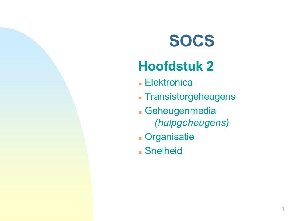 1 SOCS Hoofdstuk 2  Elektronica  Transistorgeheugens  Geheugenmedia (hulpgeheugens)  Organisatie  Snelheid
