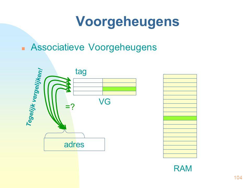 104 Voorgeheugens  Associatieve Voorgeheugens tag RAM VG adres =? Tegelijk vergelijken!