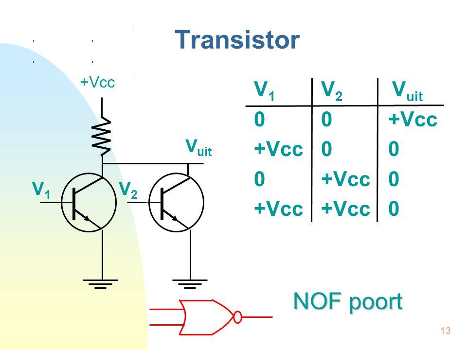 13 Transistor V 1 V 2 V uit 00+Vcc +Vcc00 0+Vcc0 +Vcc+Vcc0 +Vcc V uit V1V1 V2V2 NOF poort